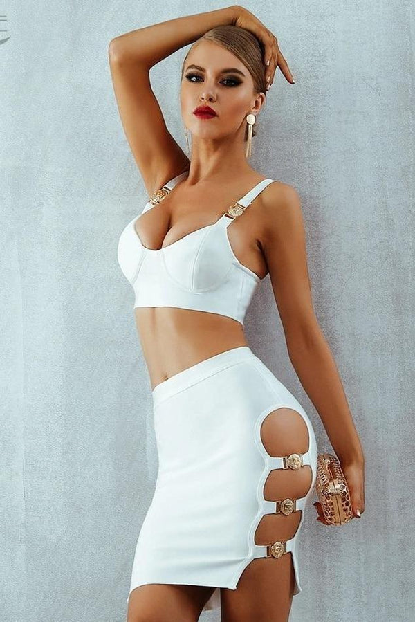 Mae White Gold Buckle Strapped Bandage Two Piece