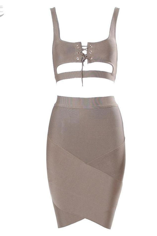 Eleanor Grey Lace Up Bandage Two - Piece