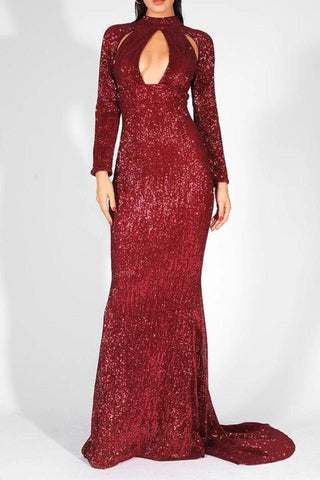 Catya Burgundy Red Keyhole Maxi Gown Dress