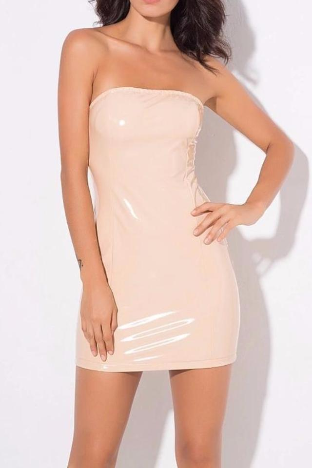 Richie Beige Vinyl Bodycon Dress
