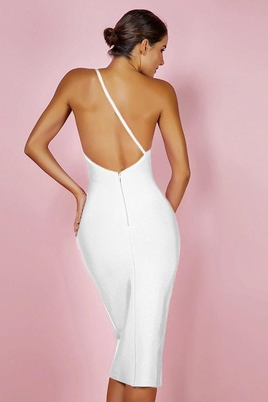 Rachel One Shoulder White Midi Bandage Dress