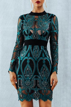 Jensa Green Embroidered Lace Long Sleeve Dress
