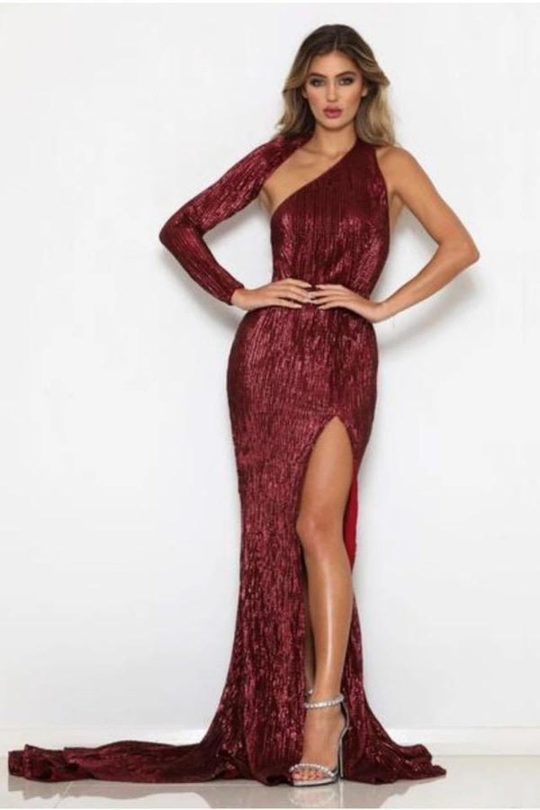 Kimbella Wine Red Sequin One Shoulder Maxi Dress Gown