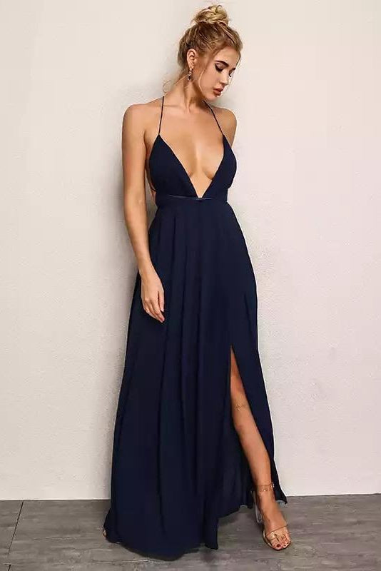 Katya Deep Plunge Chiffon Maxi Dress