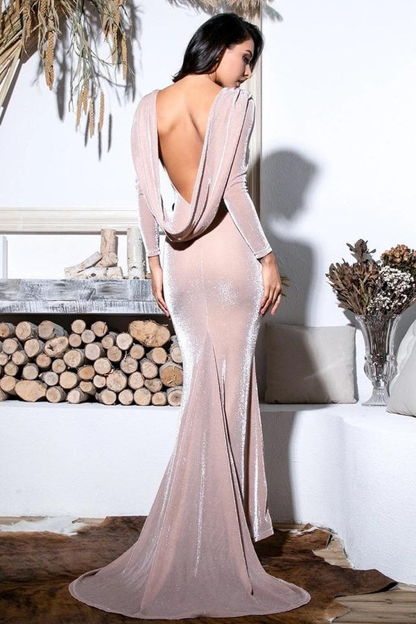 Sheryl Blush Cowl Back Long Sleeve Maxi Gown Dress