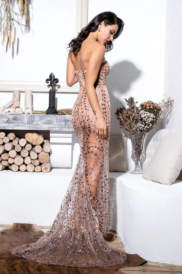 Naomi Nude Beige Mesh High Slit Glitter Strapless Maxi Dress Gown