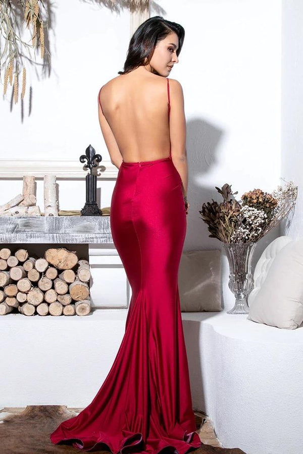 Martina Red Draped Bodycon Maxi Dress Gown