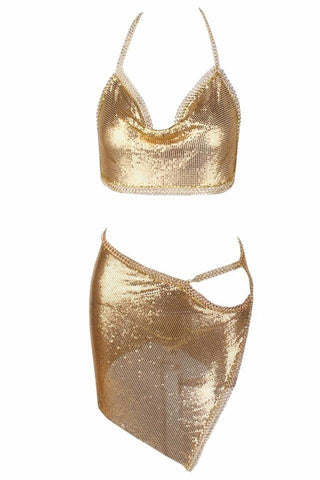 Charlotte Gold Chainmail Cowl Neck Two Piece