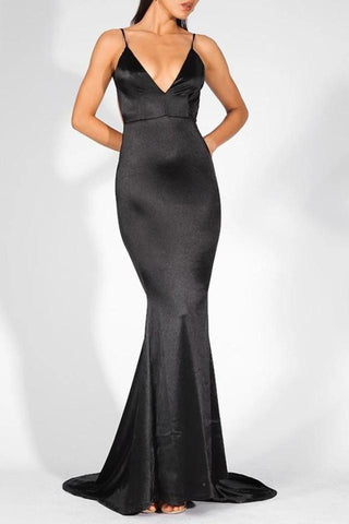 Sharee Black Satin Finish Plunge Gown