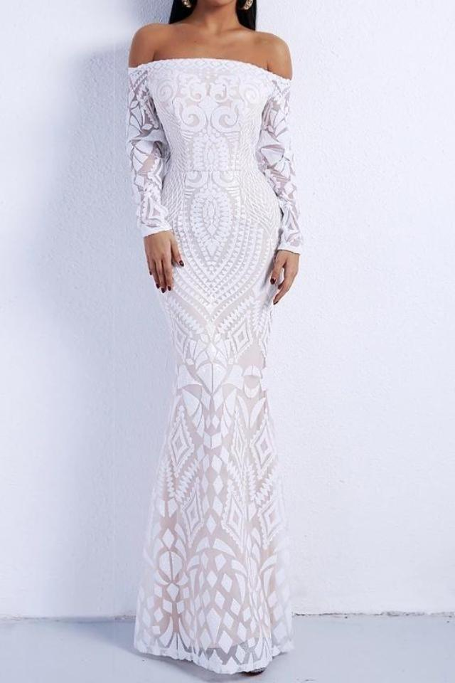Kimberly White Detailed Off The Shoulder Maxi Gown Dress