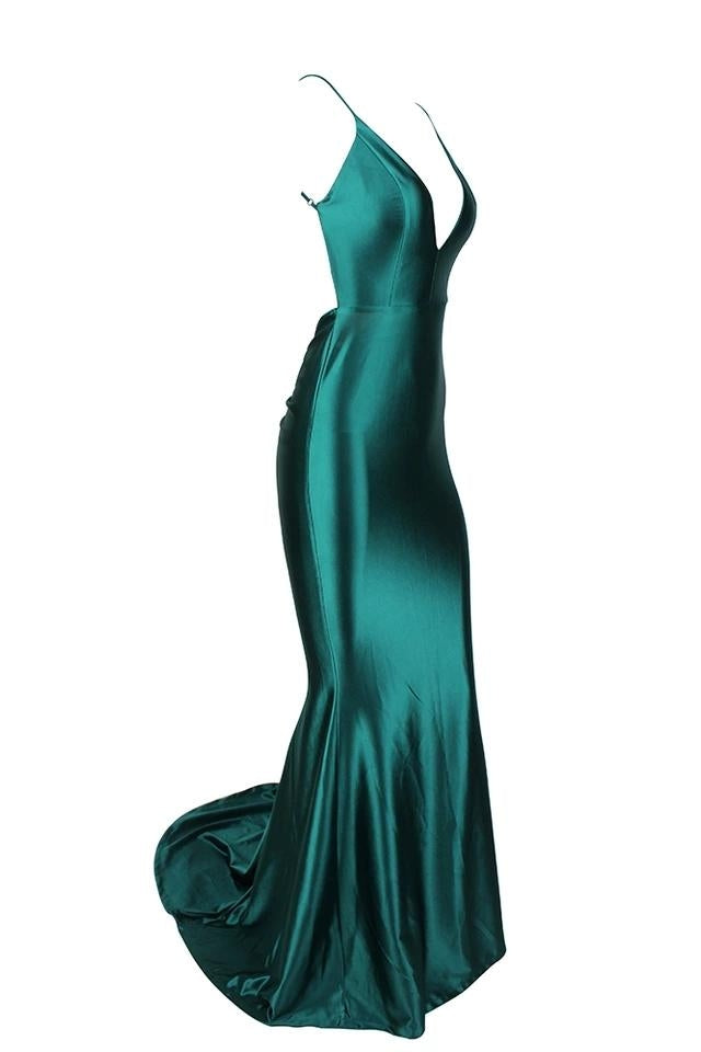 Sharee Emerald Green Satin Finish Plunge Gown