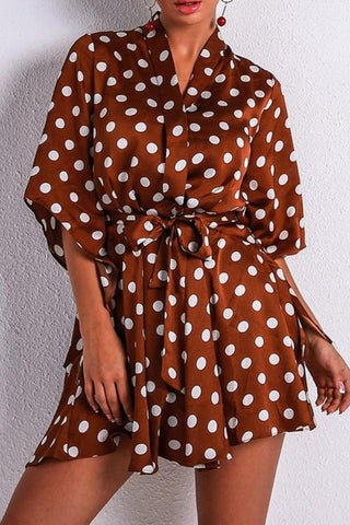 Bethany Brown Polka Dot Playsuit