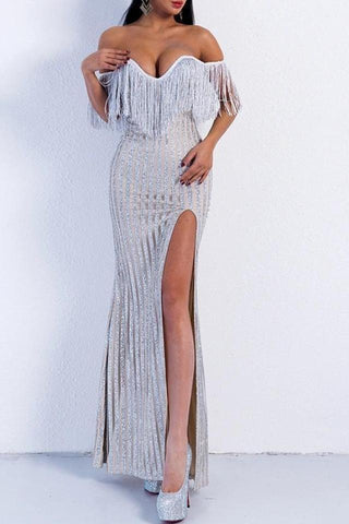 Brooke Silver Off The Shoulder Glitter Tassel Maxi Gown Dress