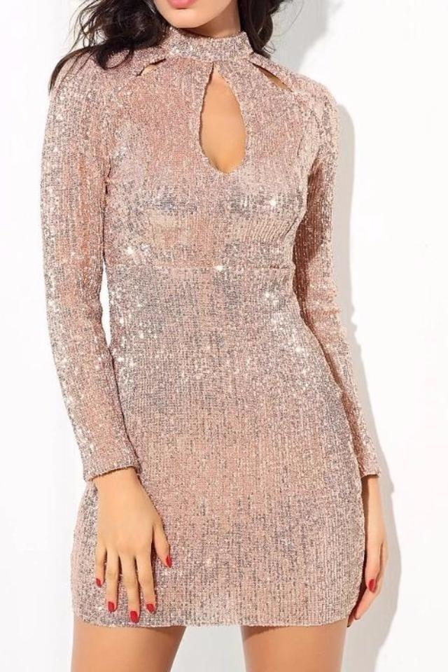 Esme Blush Key Hole High Neck Long Sleeve Dress
