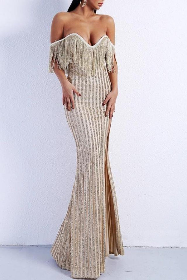 Brooke Gold Off The Shoulder Glitter Tassel Maxi Gown Dress