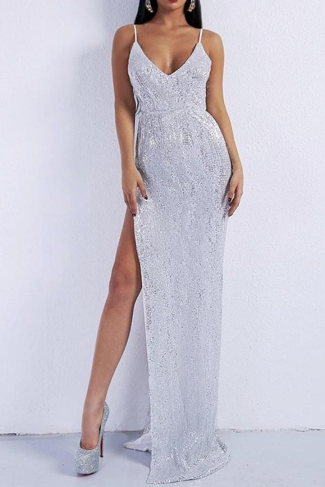 Paige Silver Sequin High Slit Gown