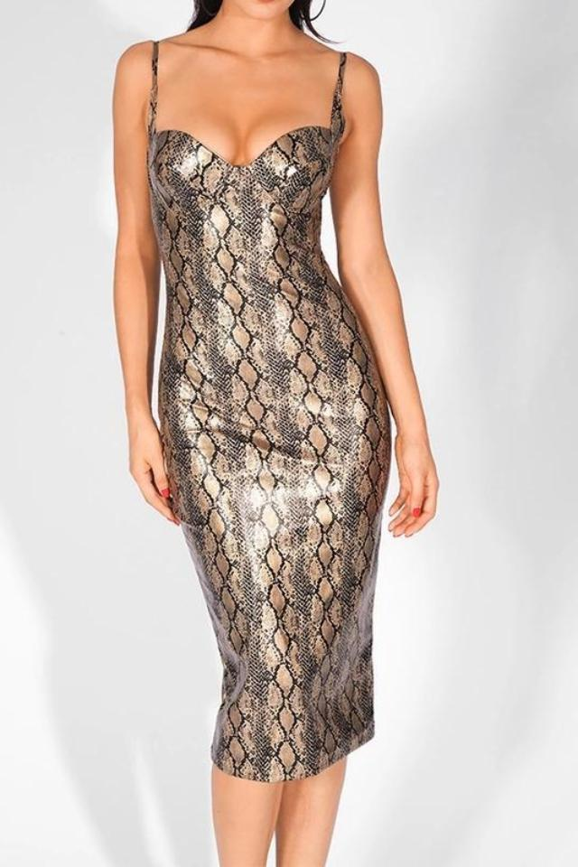Alicia Snake Animal Print Bodycon Midi Dress
