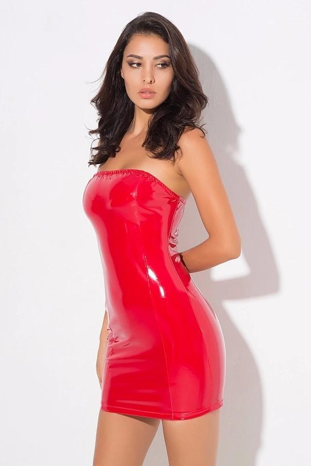 Richie Red Vinyl Bodycon Dress