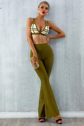 Dione Green Bralet Trouser Two - Piece