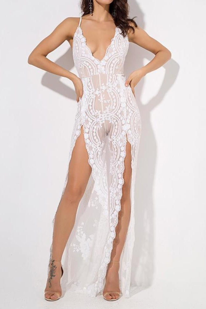 Fiona White Lace Deep Plunge High Slit Jumpsuit
