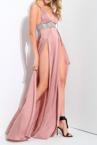 Rona Rose Pink Sequin Waist High Slit Maxi Dress