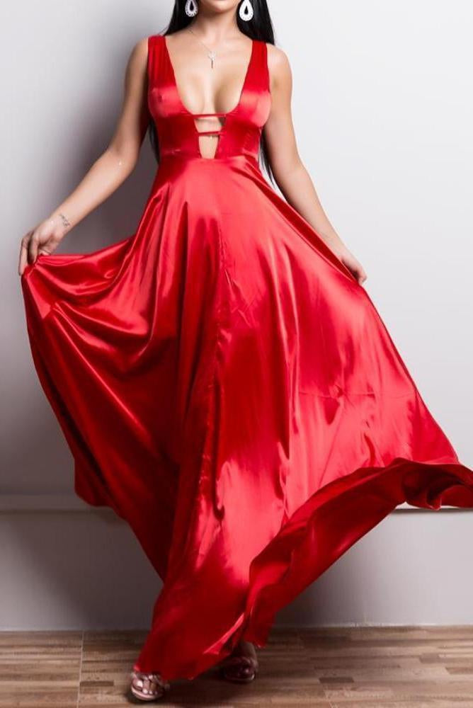 Fifi Red Sation Plunge Maxi Dress Gown