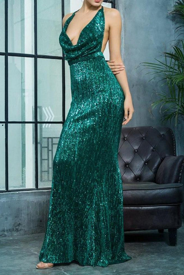 Asha Green Sequin Deep Plunge Maxi Gown Dress