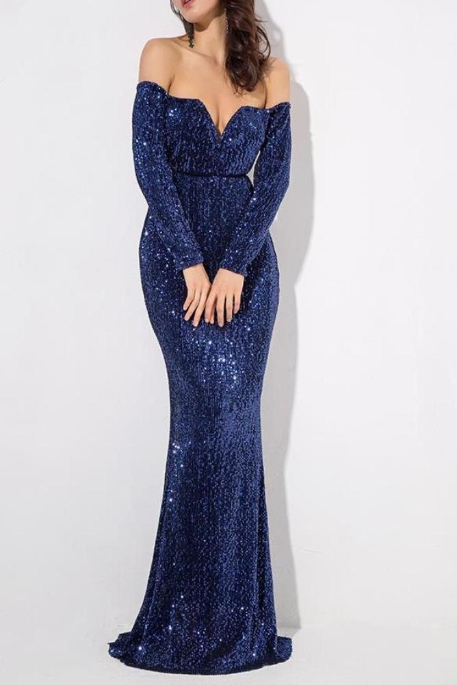 Blair Blue Sequin Off The Shoulder Long Sleeve Gown Dress