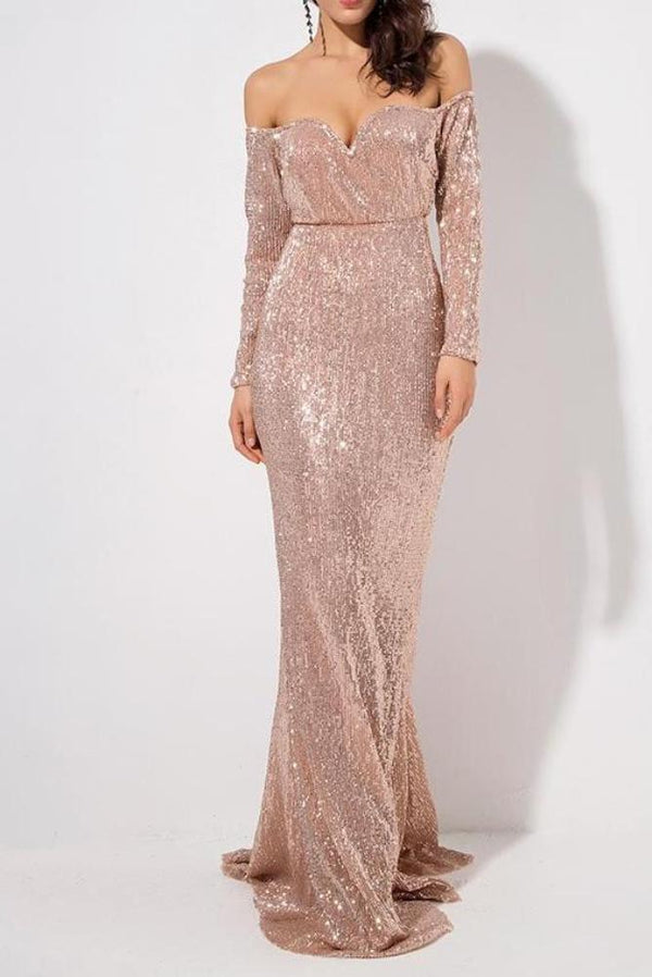 Blair Rose Sequin Off The Shoulder Long Sleeve Gown Dress