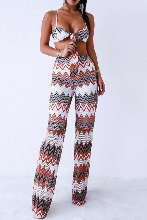 Charlotte Zig Zag Stripped Front Tie Two - Piece
