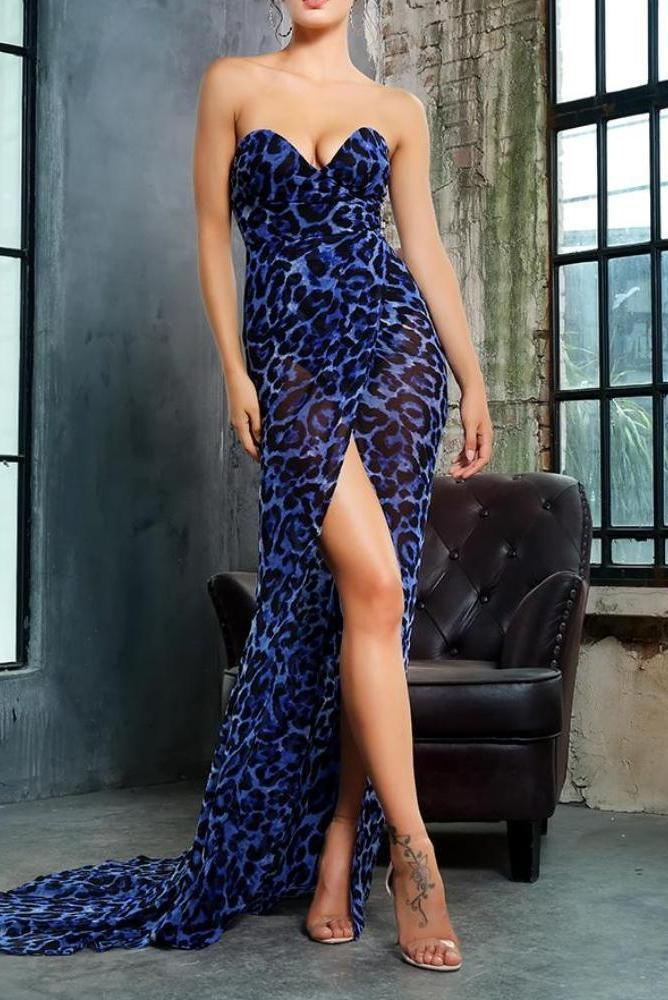 Josie Blue Leopard Print Chiffon High Slit Maxi Dress