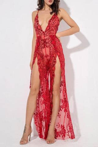 Fiona Red Lace Deep Plunge High Slit Jumpsuit