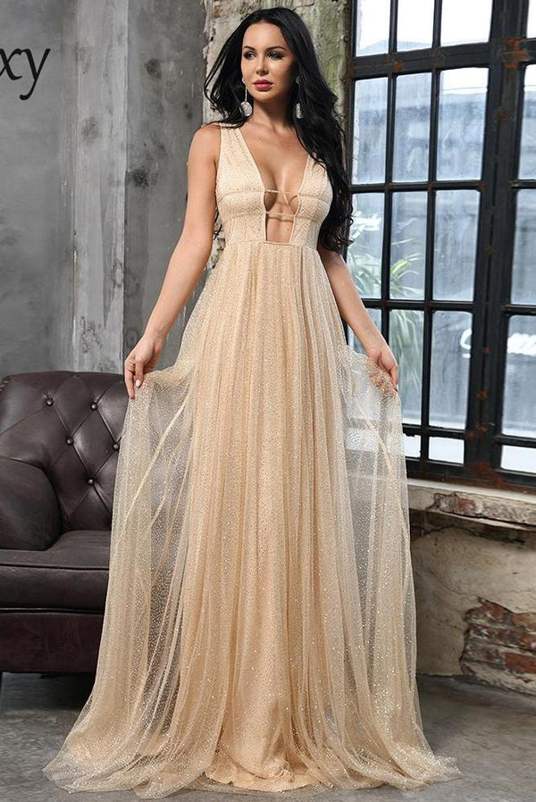 Cindy Champagne Gold Glitter Maxi Gown Dress