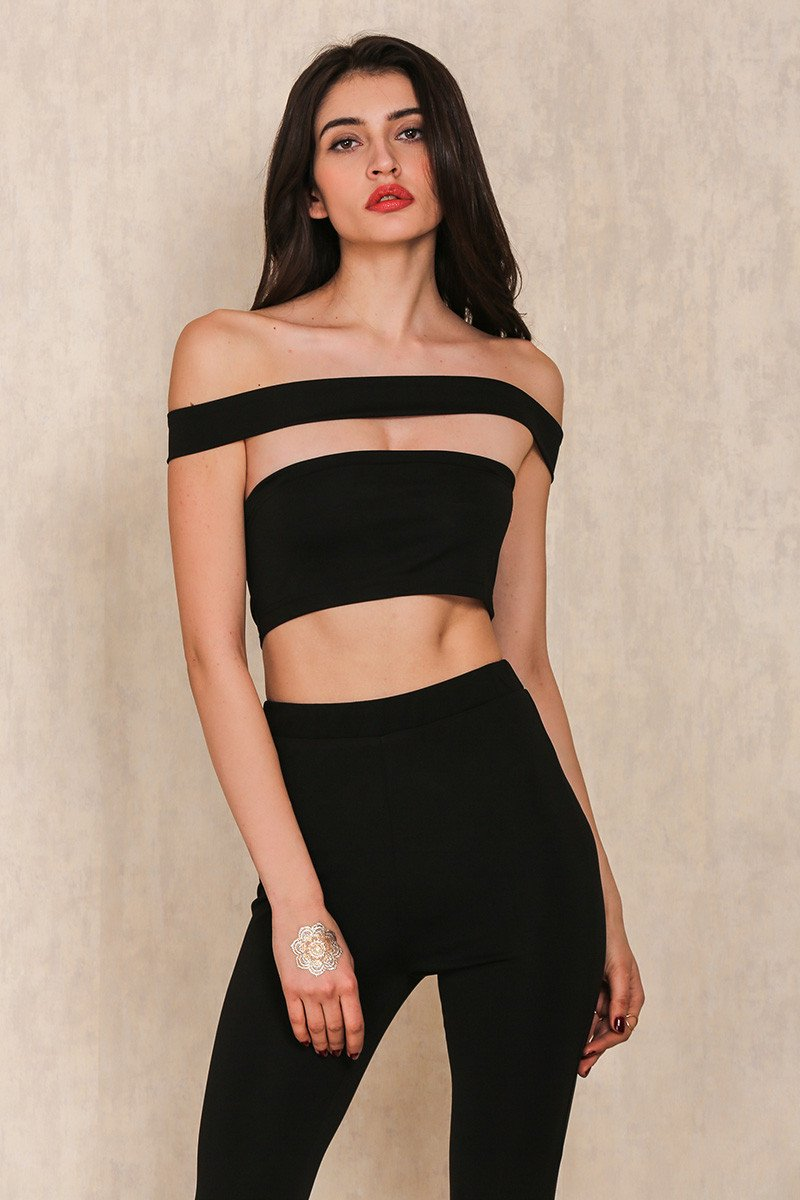 6f8c8036b6f Nessa Cut Out Off The Shoulder Black Jumpsuit – Sister Saint London