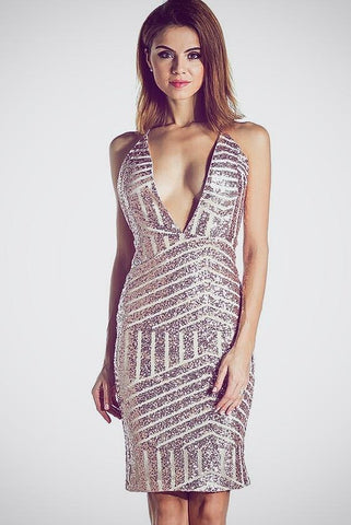Corrie Deep Plunge Rose Gold Sequin Dress