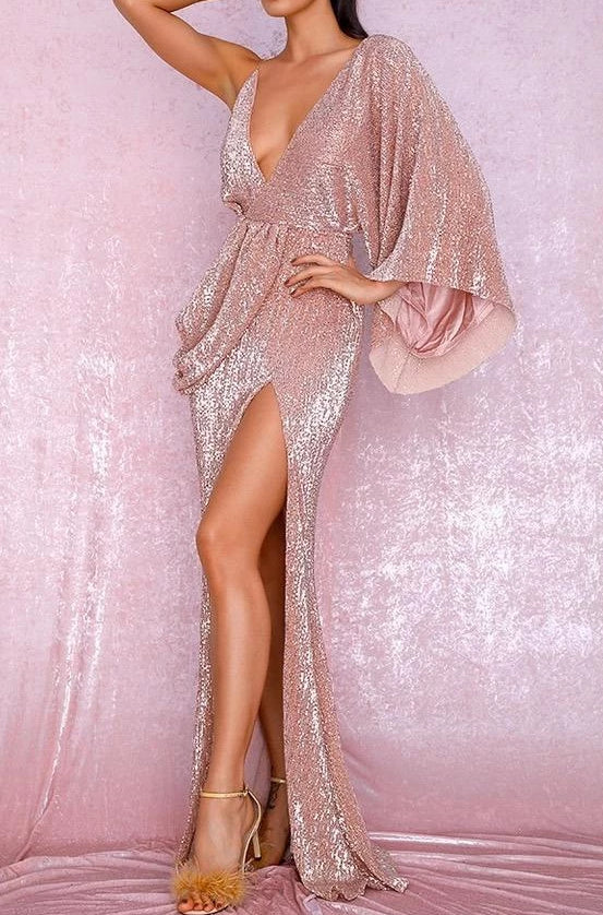 Aaliyah Blush Sequin Draped One Sleeve Maxi Dress