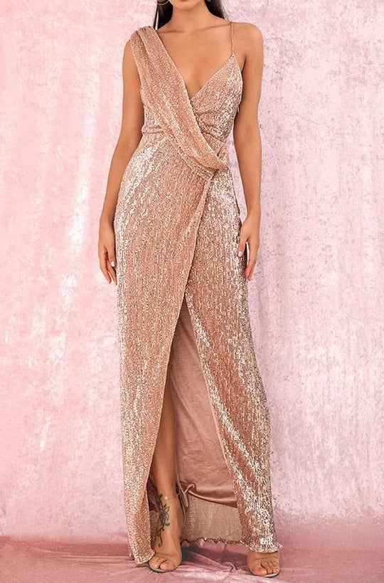 Tobi Champagne Sequin Draped Maxi Dress