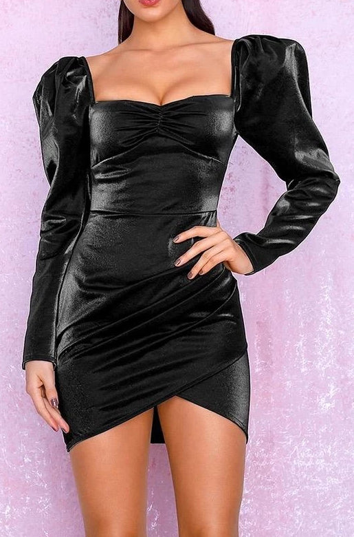 Tee Black Satin Puff Sleeve Bodycon Dress