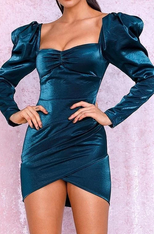 Tee Teal Satin Puff Sleeve Bodycon Dress