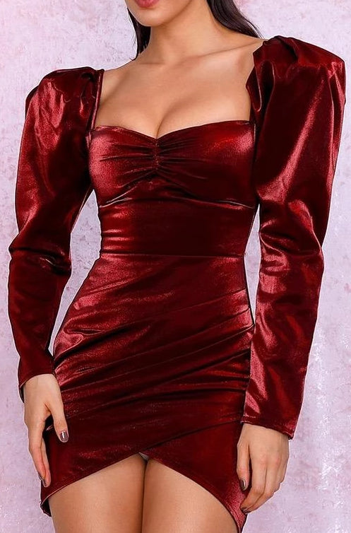 Tee Red Satin Puff Sleeve Bodycon Dress