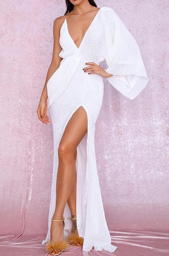 Aaliyah White Sequin Draped One Sleeve Maxi Dress
