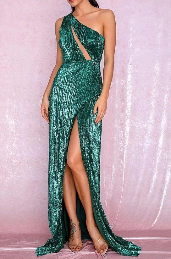 Jasmine Green Sequin One Shoulder Cut Out Maxi Dress
