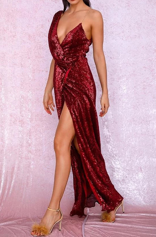Tobi Burgundy Red Sequin Draped Maxi Dress