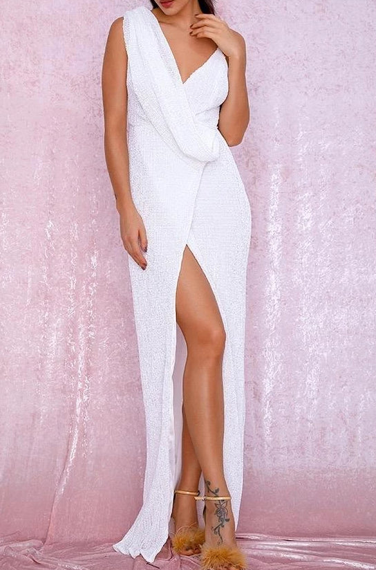 Tobi White Sequin Draped Maxi Dress