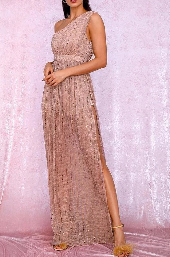 Richy Blush One Shoulder Chiffon Maxi Dress