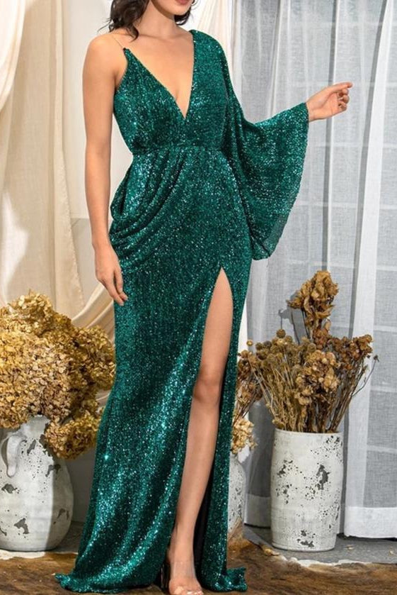 Aaliyah Green Sequin Draped One Sleeve Maxi Dress