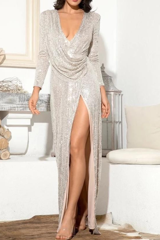 Tinka Silver Sequin Long Sleeve Draped Maxi Gown