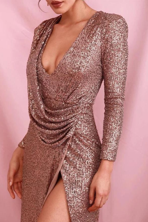 Tinka Rose Gold Sequin Long Sleeve Draped Maxi Gown