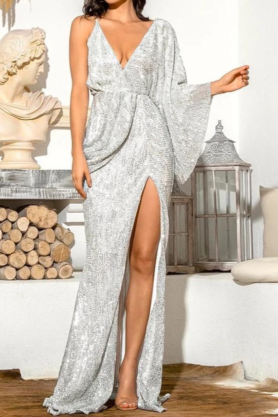 Aaliyah Silver Sequin Draped One Sleeve Maxi Dress