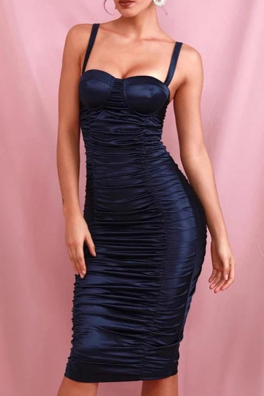Olah Navy Blue Satin Rushed Midi Dress